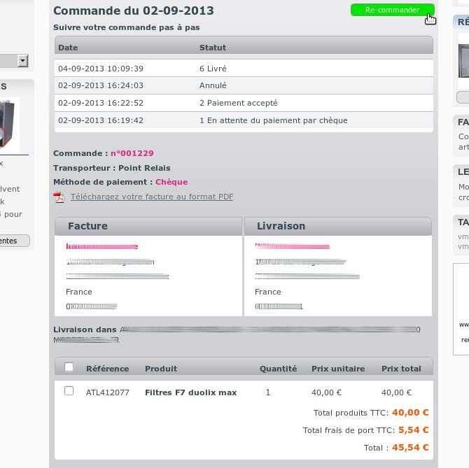 Lebonfiltre : détails d'une commande recommande